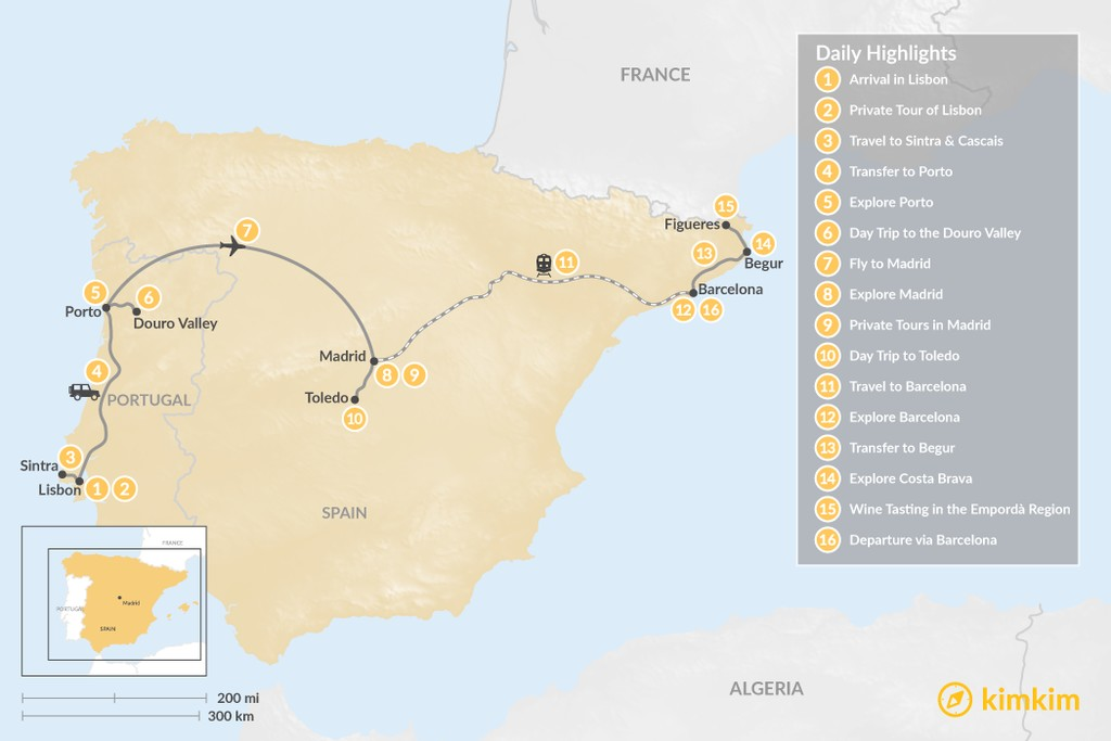 Map of Highlights of Spain & Portugal: Cities, Beaches, & Culture - 16 Days