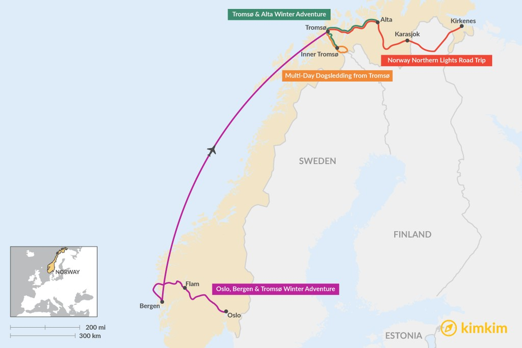 Map of Best Winter Itineraries in Norway