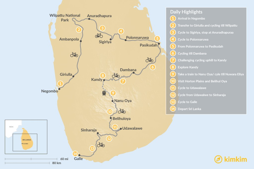 Map of Hidden Treasures of Sri Lanka Cycling Tour - 14 Days