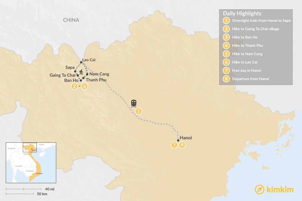 Map of Trekking in Rural Vietnam - 8 Days