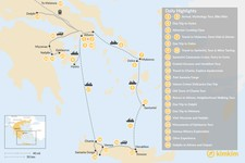 Map thumbnail of Greek Panorama in Athens, Mainland Greece, The Cyclades, and Crete - 24 Days