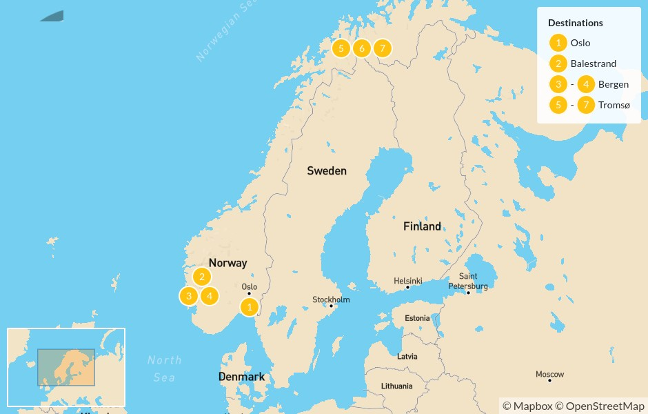 Map of Norway Highlights: Oslo, Balestrand, Bergen, & Tromsø - 8 Days