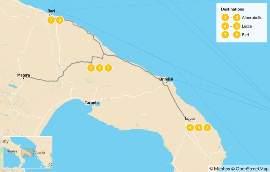 Map of Laidback Puglia: Alberobello, Lecce, Bari - 9 Days