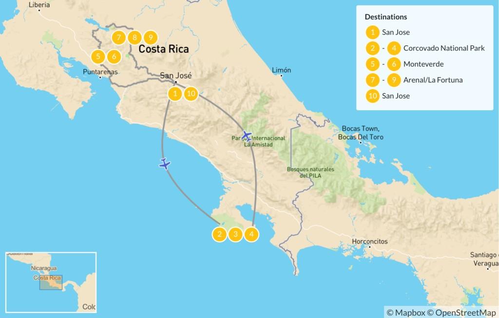 Map of Costa Rica Wildlife Adventure - 11 days