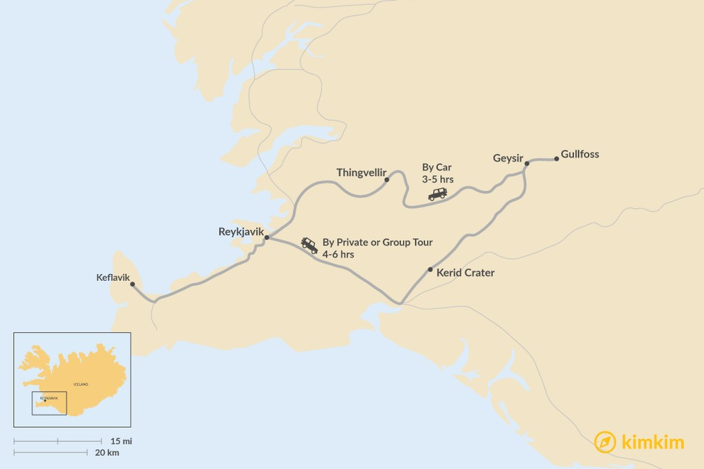 Map of How to Get from Keflavik to Golden Circle
