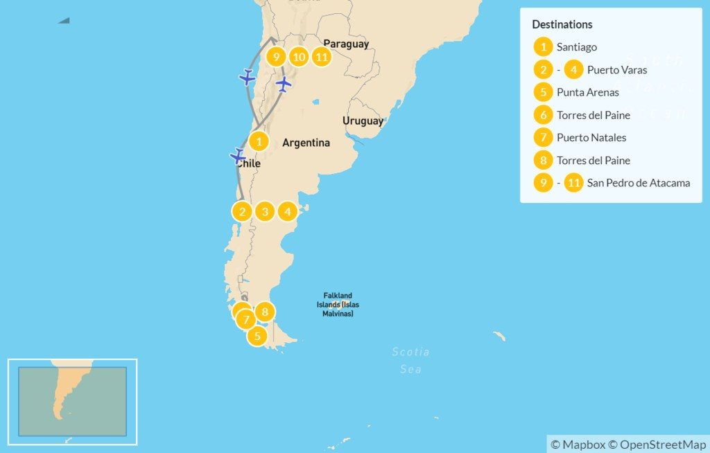 Map of Chile: Lake District, Torres del Paine, & Atacama Desert - 12 Days