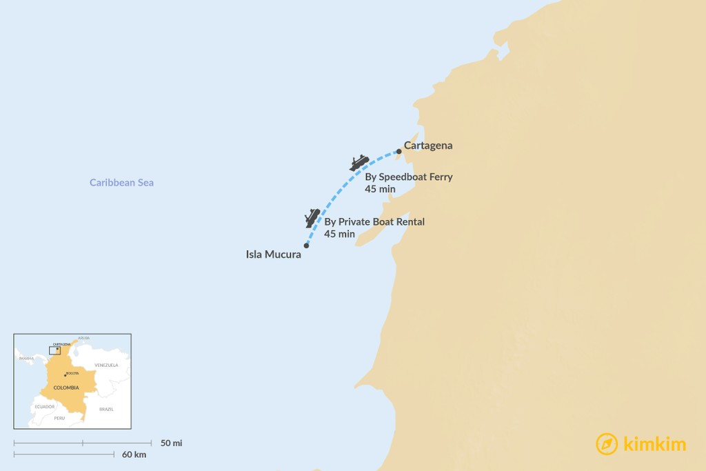 Map of How to Get from Cartagena to the Rosario Islands