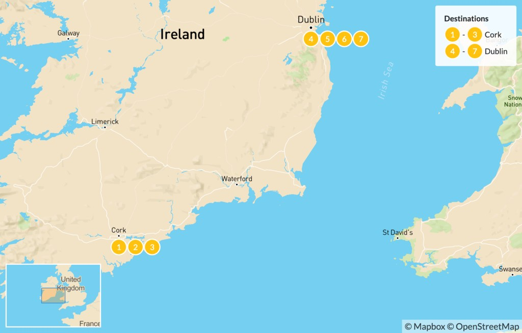 Map of Discover Ireland - 8 Days