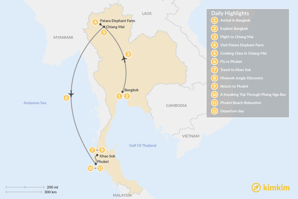 Map of Romantic Honeymoon Trip to Thailand - 12 Days