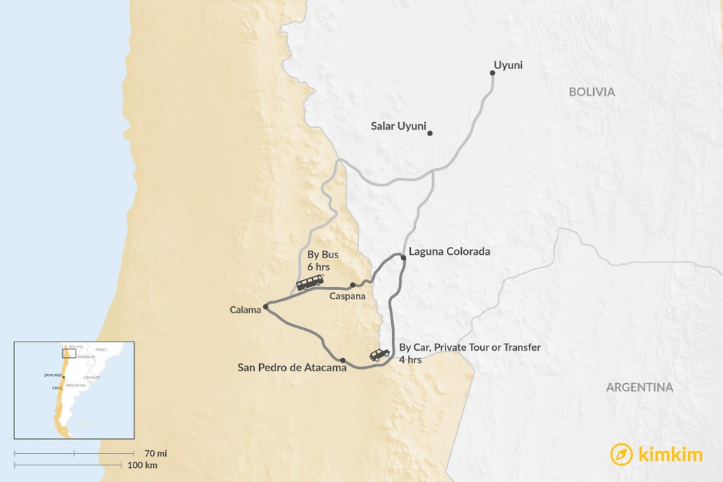 Map of How to Get from San Pedro de Atacama to Laguna Colorada