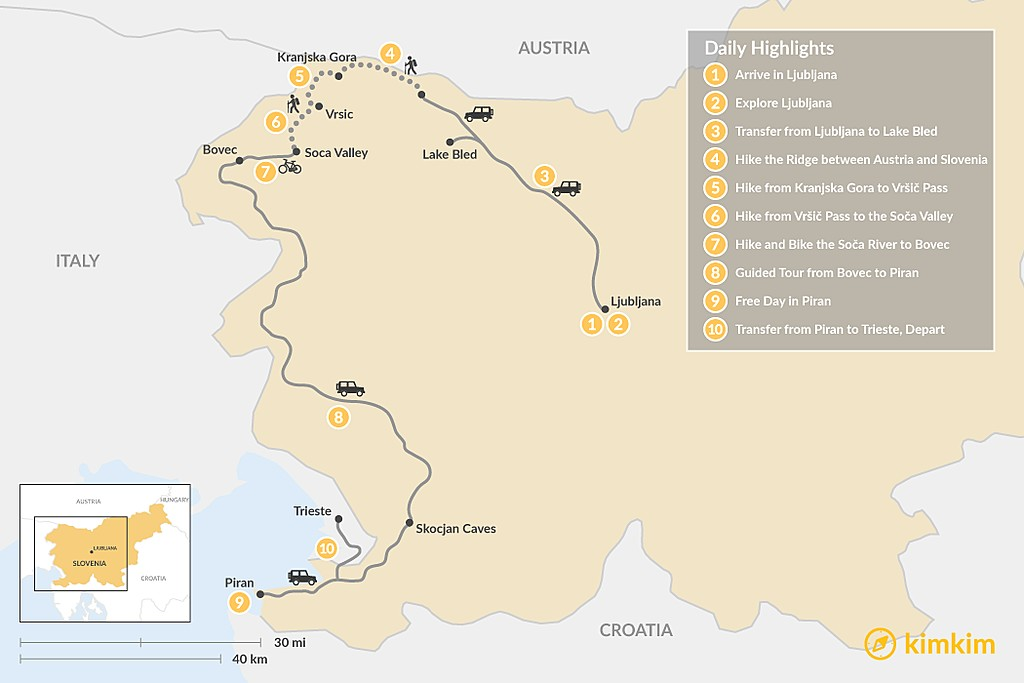 Map of Slovenian Alps to Coast Hiking Adventure - 10 Days