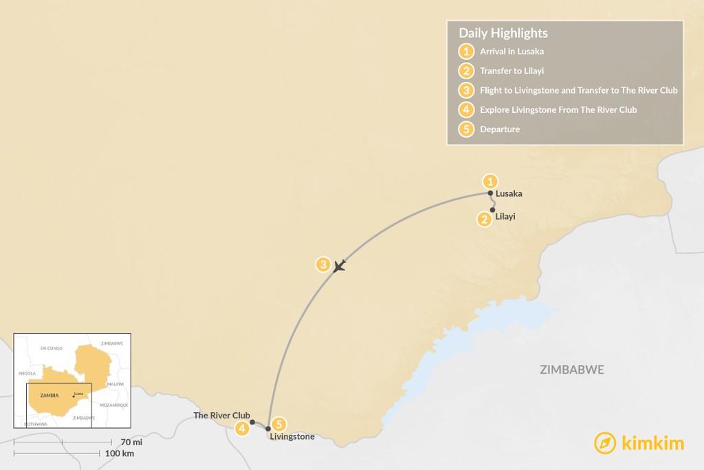 Map of Luxury Zambia Safari & River Camp - 5 Days
