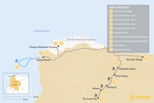 Map thumbnail of The Lost City & Tayrona Park Adventure - 10 Days