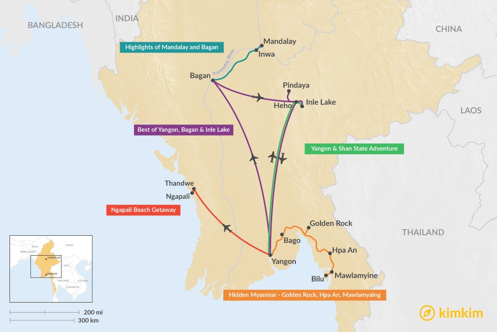 Map of 5 Days in Myanmar - 5 Unique Itinerary Ideas