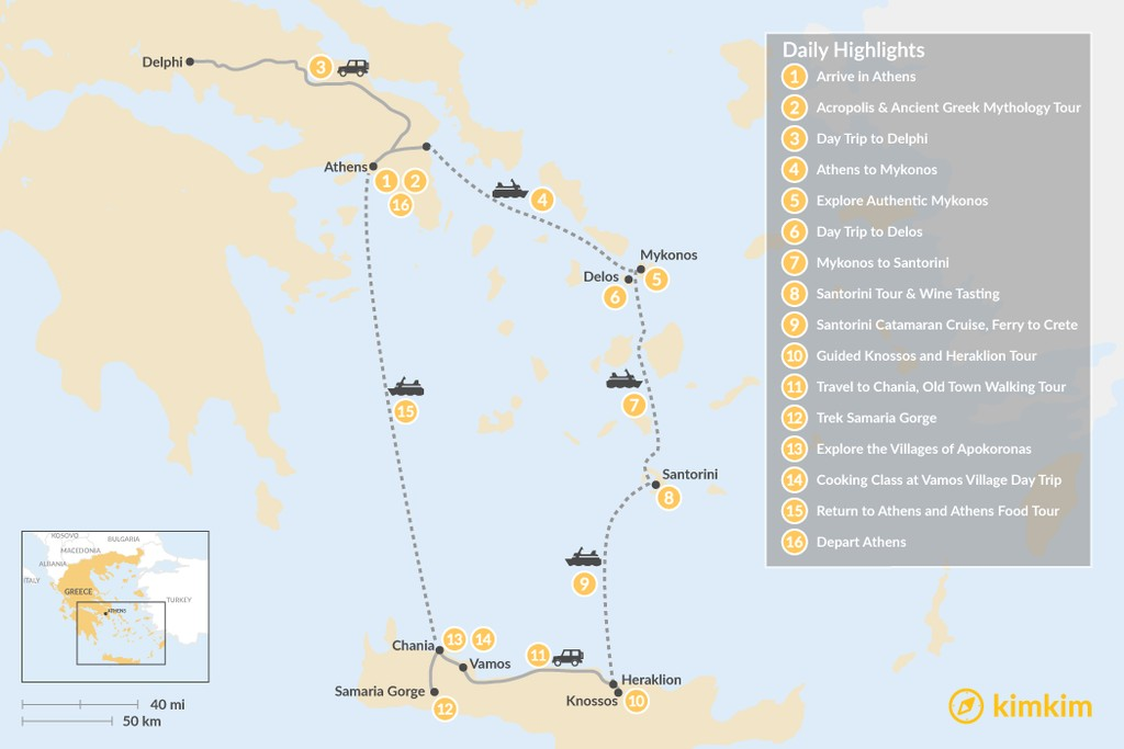 Map of Discover Athens, Mykonos, Santorini, and Crete - 16 Days