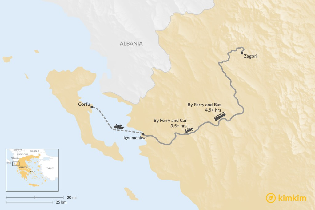 Map of How to Get from Corfu to Zagori