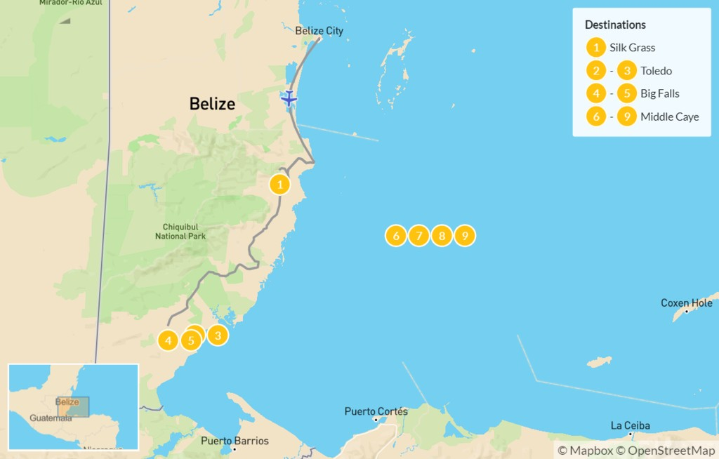 Map of  Discover Belize: Rainforests, Ruins, & Reefs - 10 Days