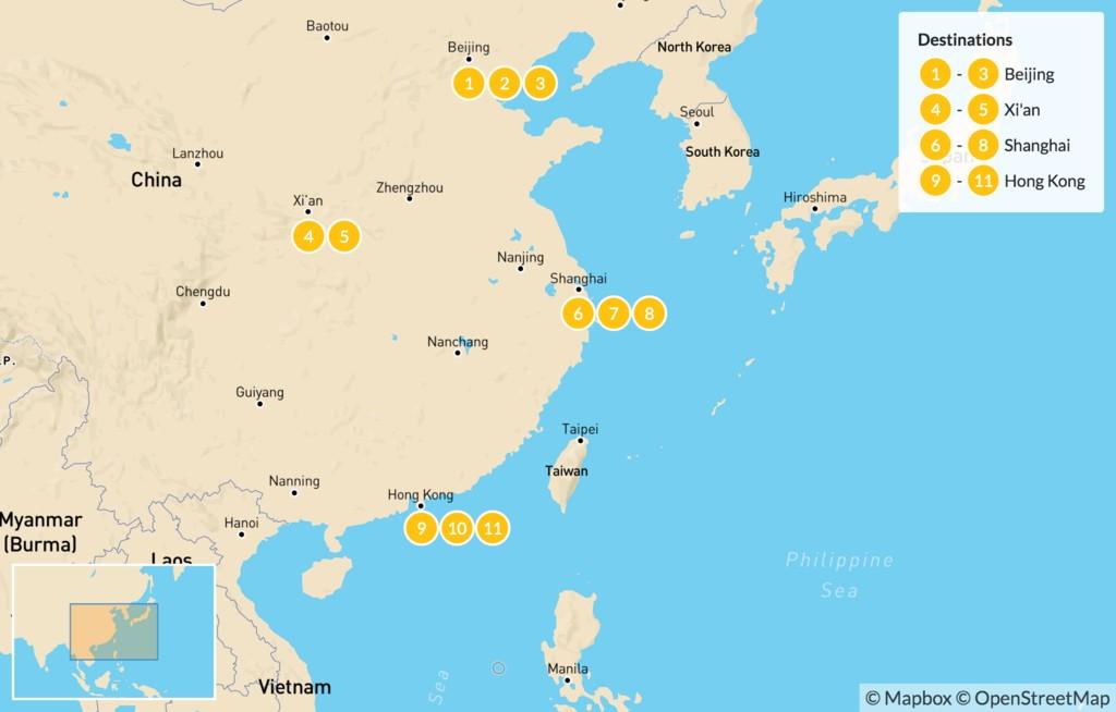 Map of Discover China, Hong Kong and Macau - 12 Days