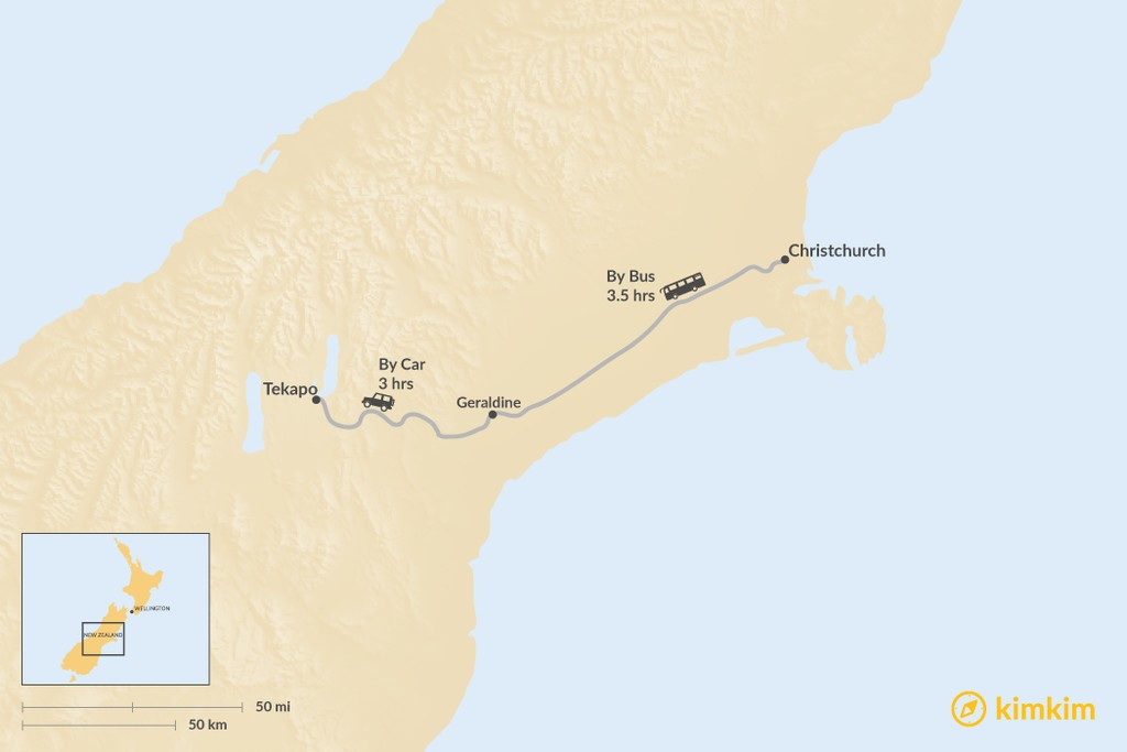 Map of How to Get from Christchurch to Lake Tekapo