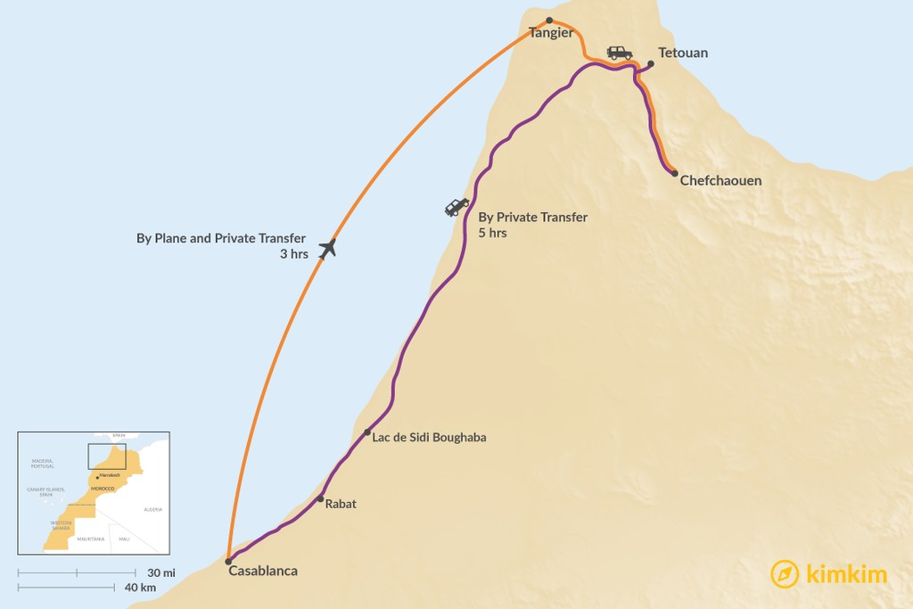 Map of How to Get from Casablanca to Chefchaouen