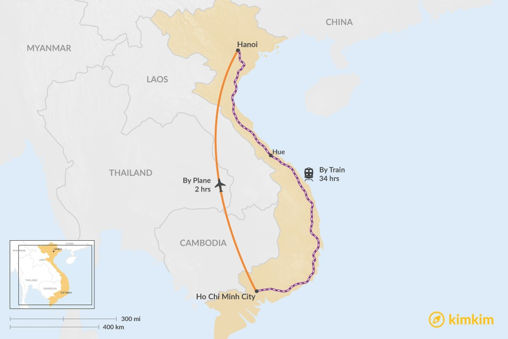 Map of How to Get from Ho Chi Minh City to Hanoi