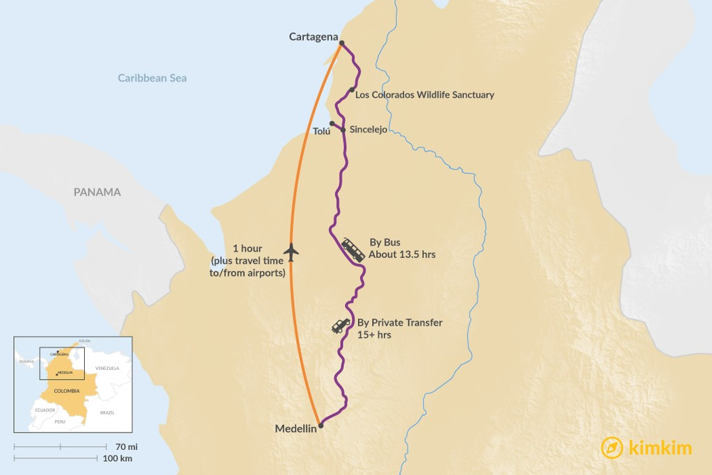 Map of How to Get from Medellín to Cartagena