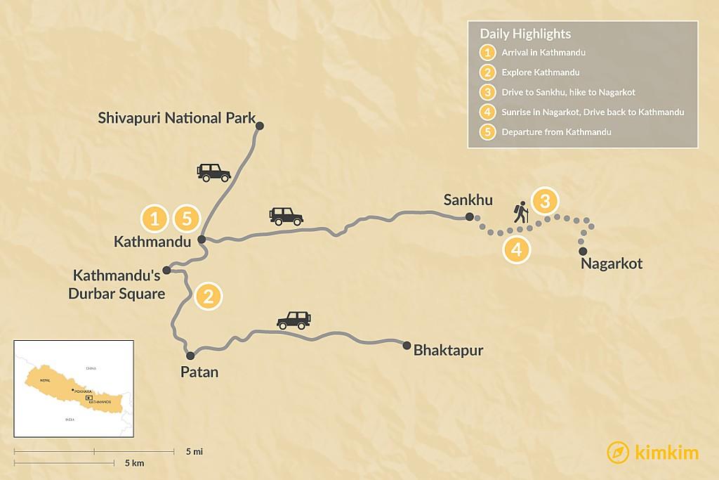 Map of Nagarkot Trek & Kathmandu Tour - 5 Days