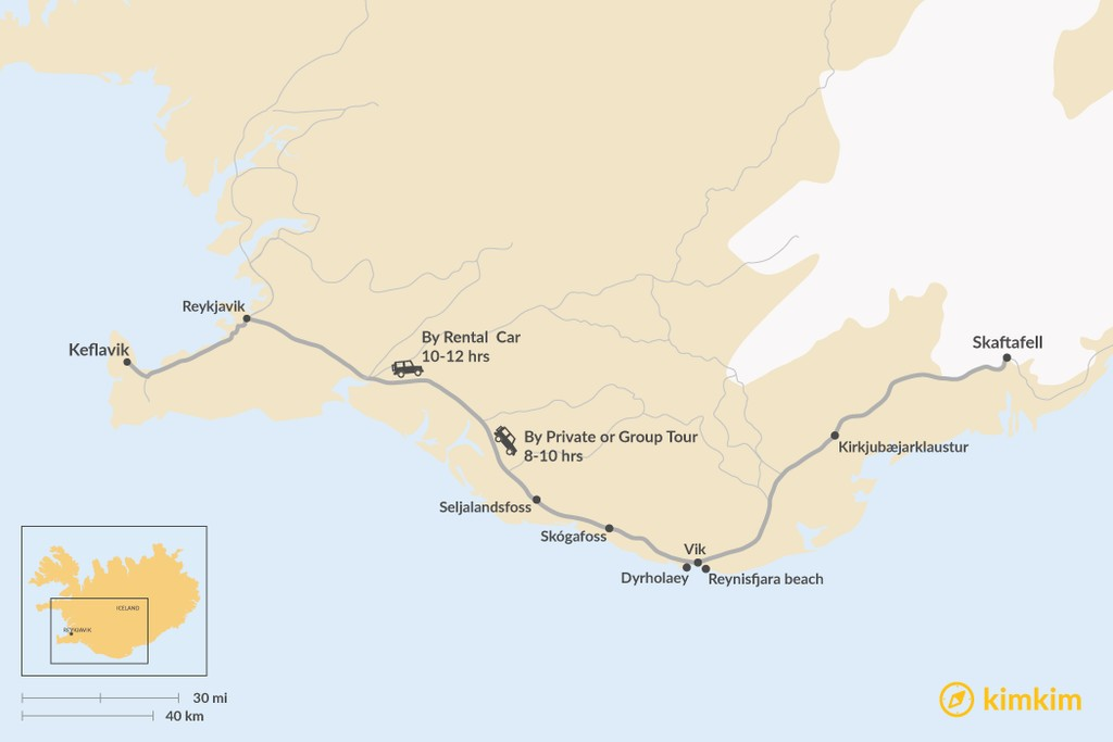 Map of How to Get from Keflavik to the South Coast