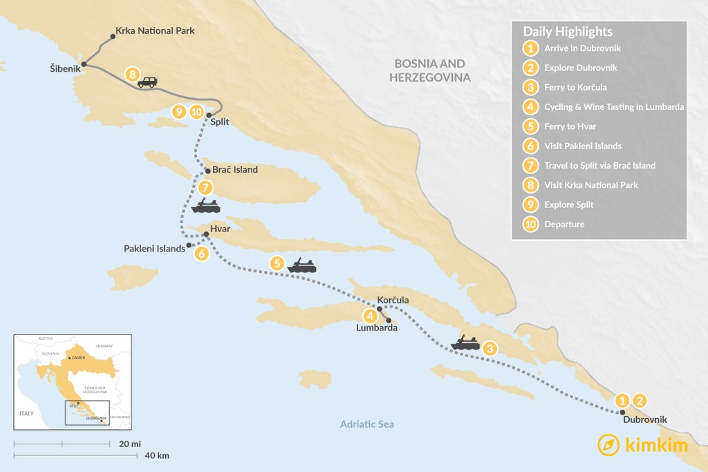 Map of Best of Dalmatia: Dubrovnik, Korčula, Hvar, & Split - 10 Days
