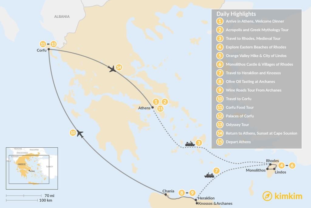 Map of Discover Rhodes, Crete, and Corfu - 15 Days
