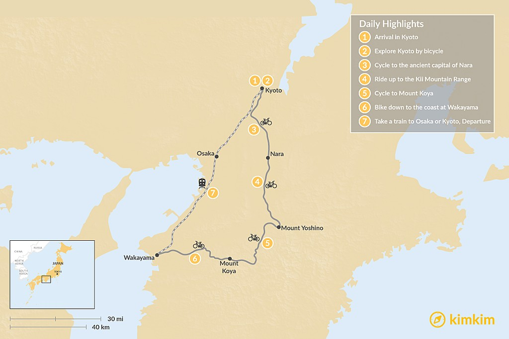 Map of Japanese Cycling Adventure - 7 Days