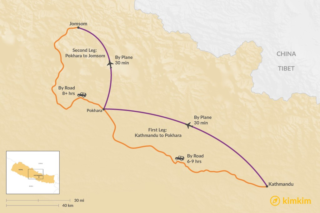 Map of How to Get from Kathmandu to Jomsom