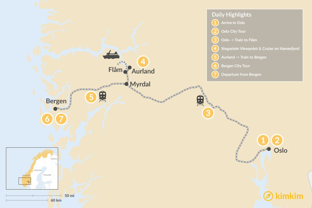 Map of Norwegian Nature & Culture: Oslo, Bergen & Western Fjords & Mountains - 14 Days
