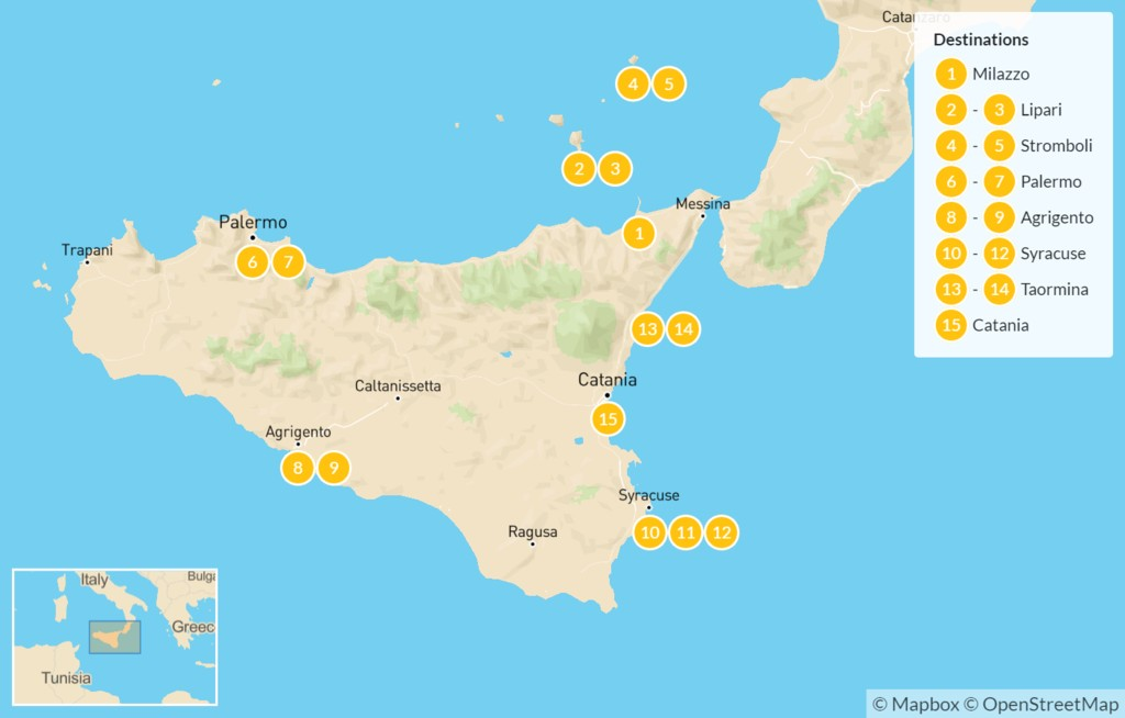 Map of Sicily Highlights Self-Drive Tour with Aeolian Islands - 16 Days