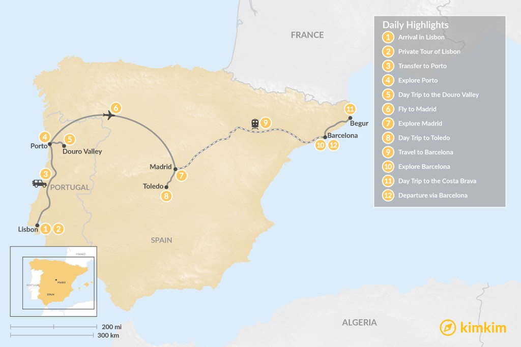 Map of Highlights of Spain & Portugal: Cities, Beaches, & Culture - 12 Days