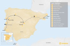 Map thumbnail of Highlights of Spain & Portugal: Cities, Beaches, & Culture - 12 Days