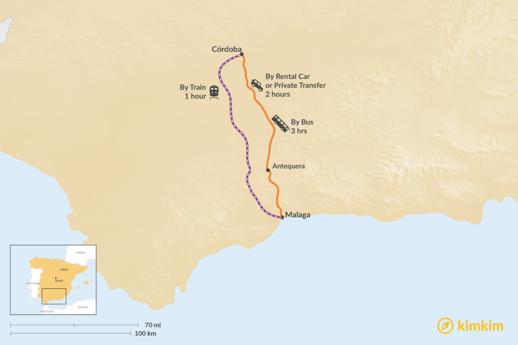 Map of How to Get from Córdoba to Malaga