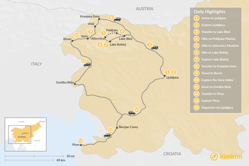 Map of Hike & Bike in Slovenia:  Ljubljana, the Julian Alps, Goriška Brda, & Piran - 14 Days