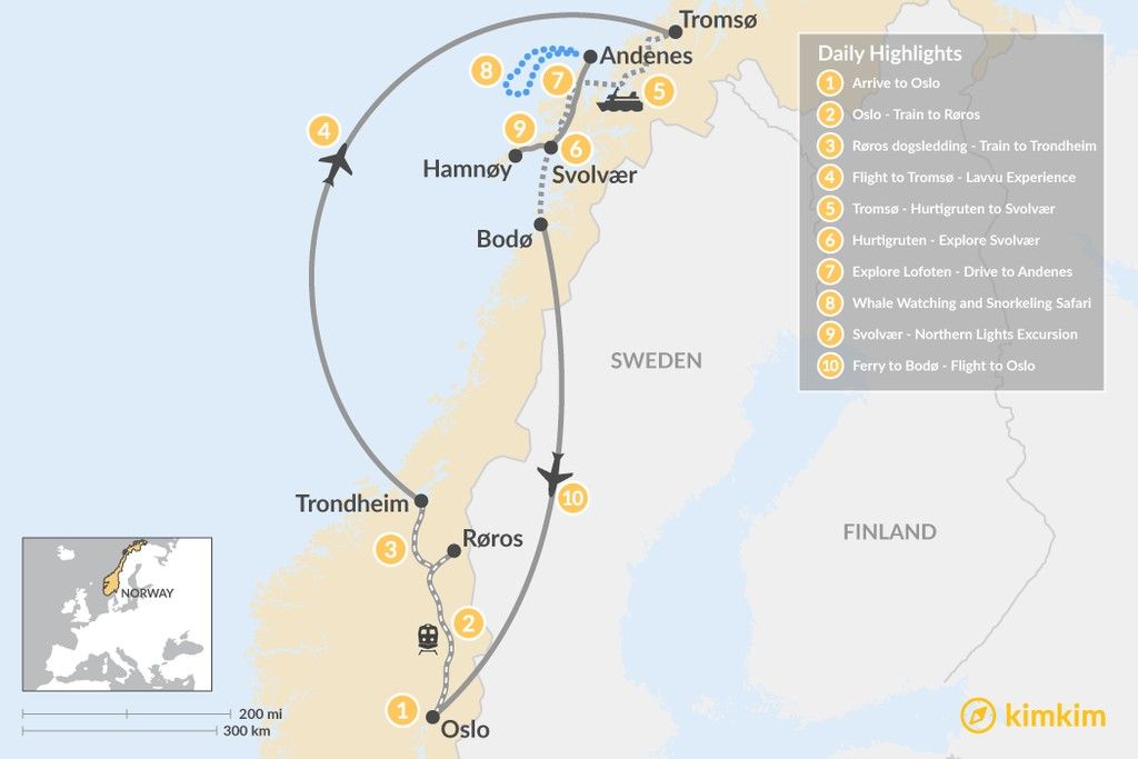 Map of Winter Adventure in Norway's Arctic - 10 Days