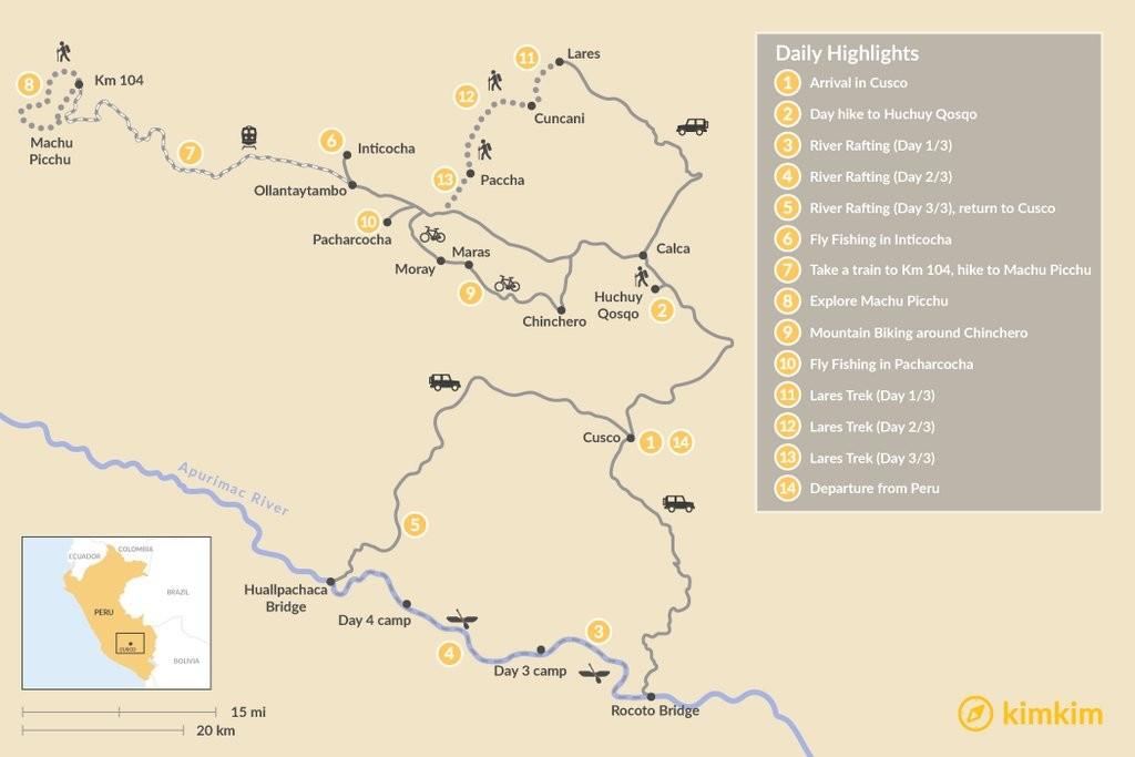 Map of Adventure Awaits: Rafting, Biking & Trekking - 15 Days