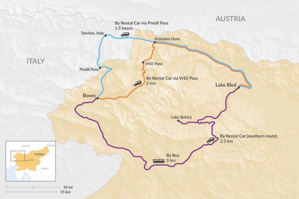 Map of How to Get from Lake Bled to Bovec