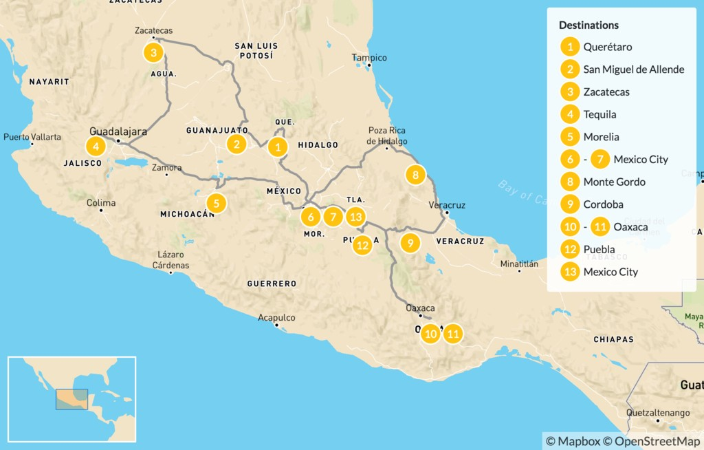 Map of Mexico's Ultimate Culture Tour - 14 Days