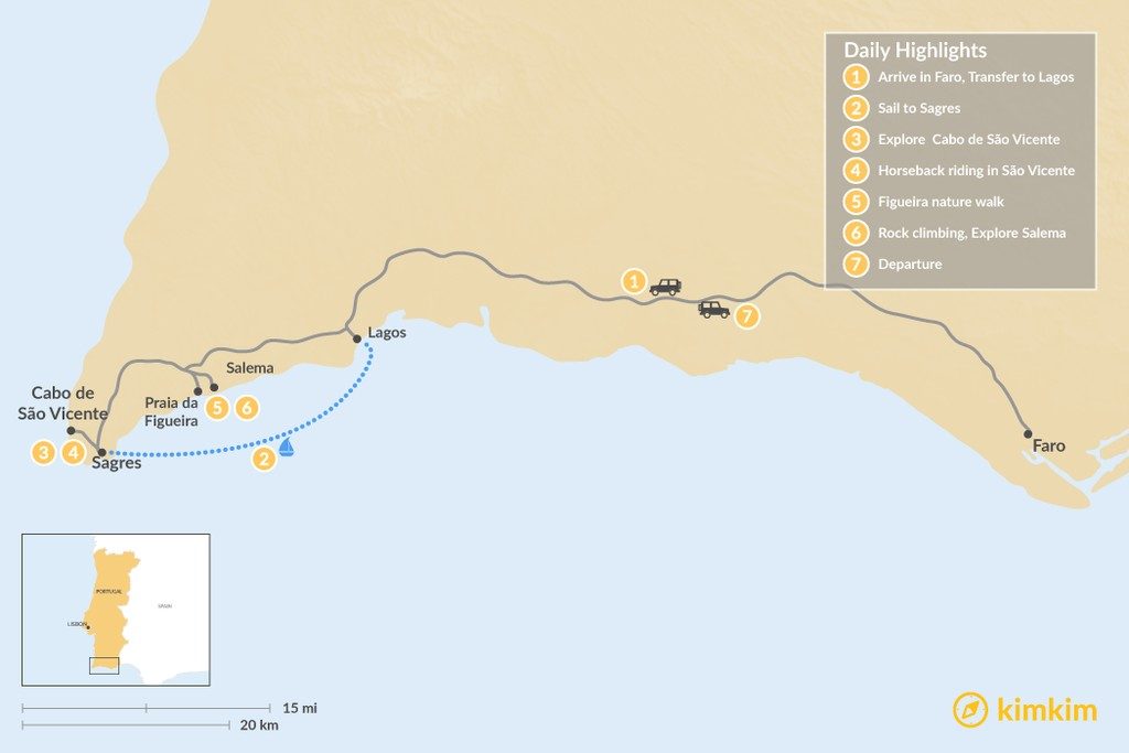 Map of Algarve Highlights: From Lagos to Sagres - 7 Days