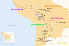 Map thumbnail of 14 Days in Bolivia - 4 Unique Itineraries