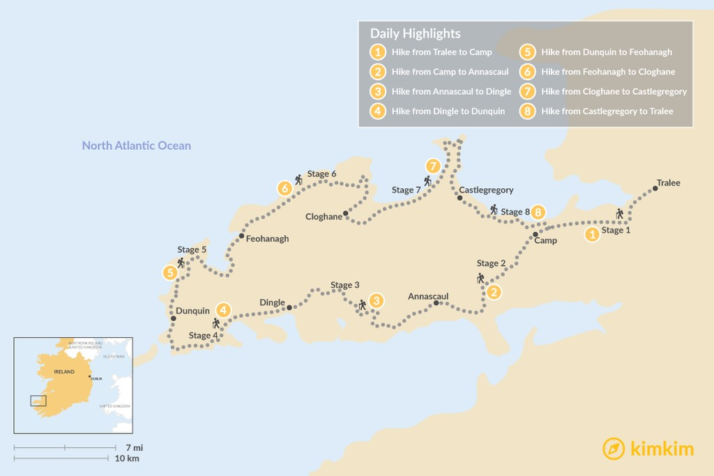 Map of Ultimate Guide to the Dingle Way: Hiking Ireland's Remote Western Peninsula