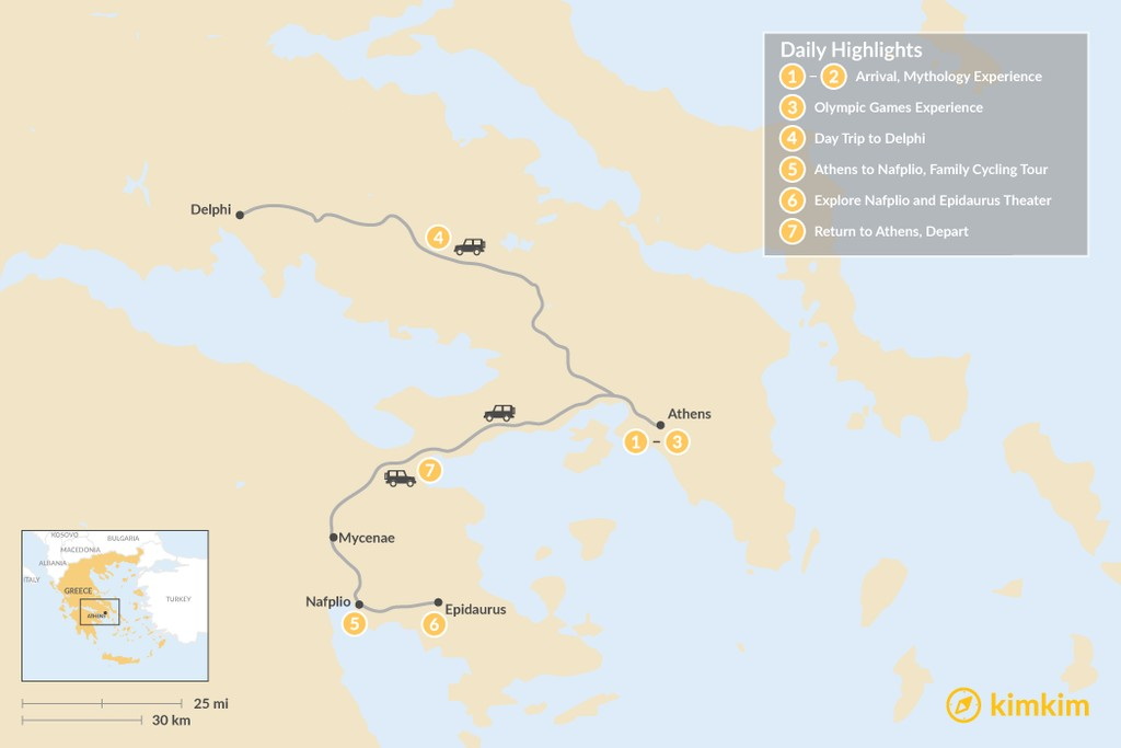 Map of Family Holiday in Athens & Nafplio - 7 Days