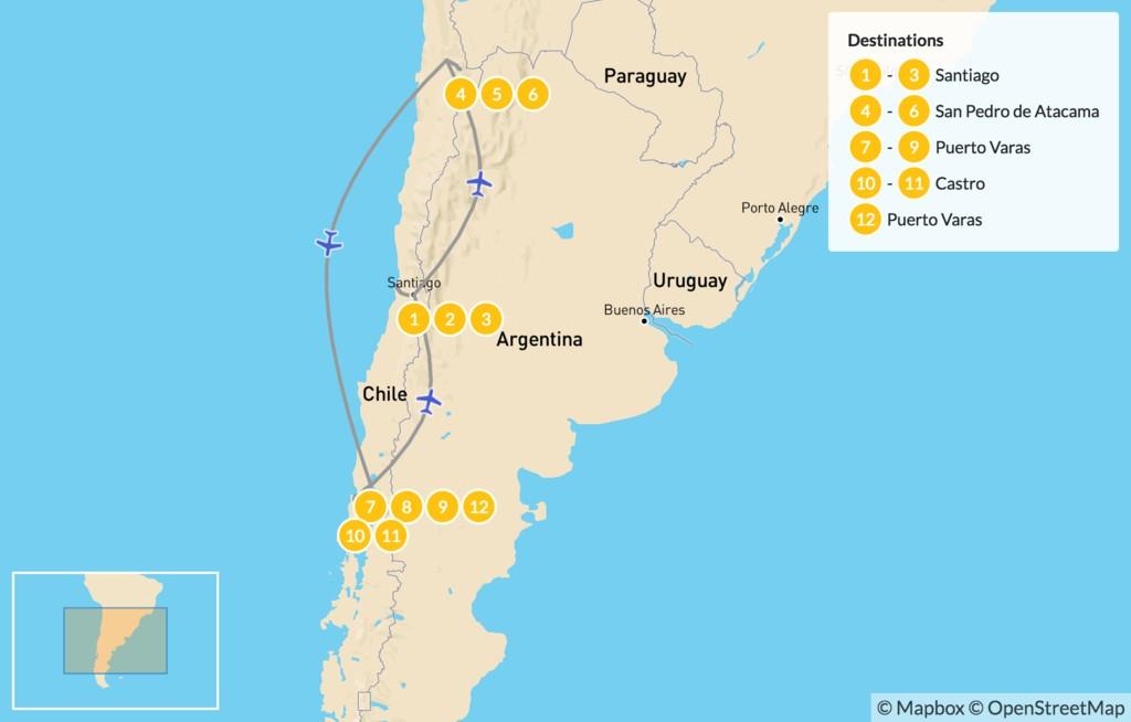 Map of Central Chile, Lake District & Atacama Desert - 13 Days