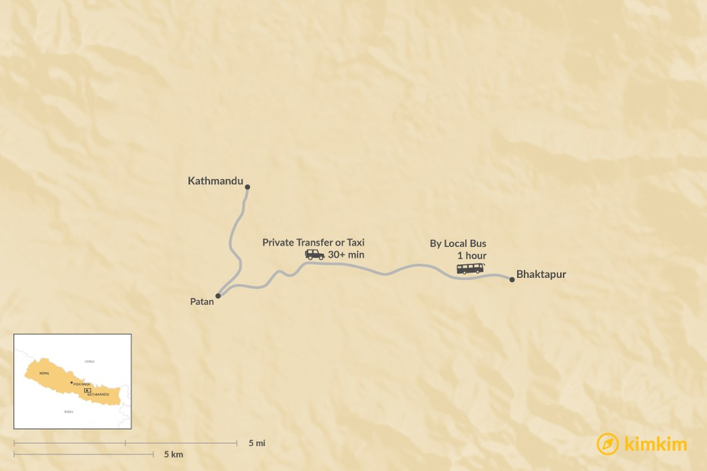 Map of How to Get from Kathmandu to Bhaktapur