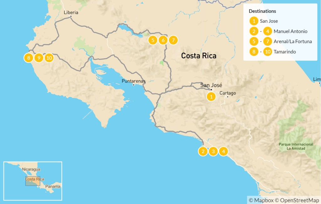 Map of Costa Rica: Beach & Rainforest Tour - 11 Days