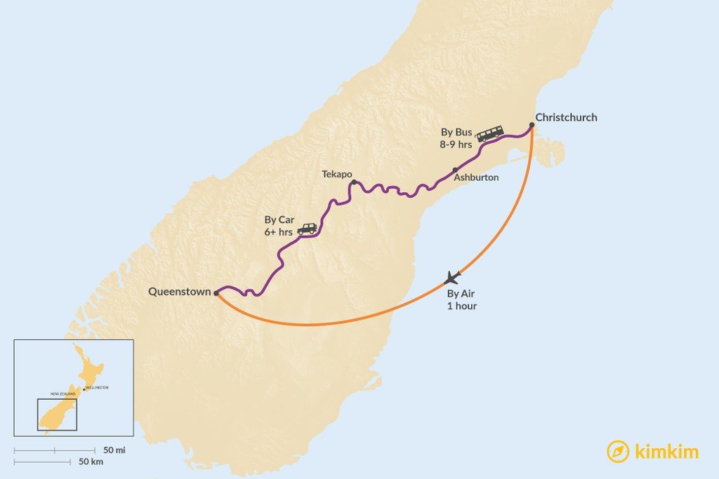 Map of How to Get from Christchurch to Queenstown